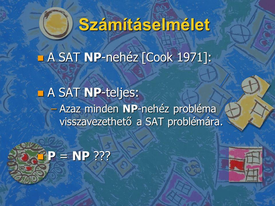 Számításelmélet A SAT NP-nehéz [Cook 1971]: A SAT NP-teljes: